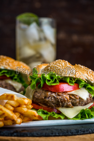 homemade hamburger with fresh vegetables and