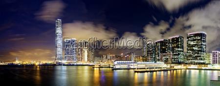 hong kong office buildings at night