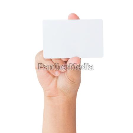 hand halten leere weisse karte isoliert