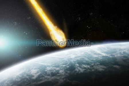 impatto meteorite su un pianeta nello