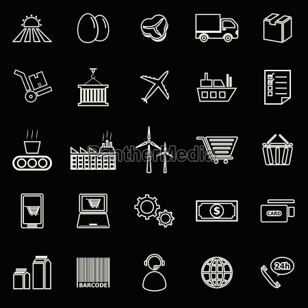 supply chain line icons on black