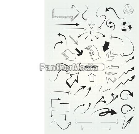 sketch bzw scribble also handgemalte pfeile