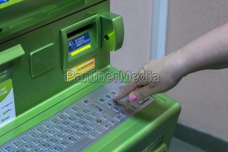 bank kreditinstitut geldinstitut hand eingeben eintreten