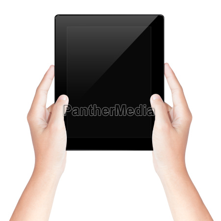 hand hold tablet screen isolated with