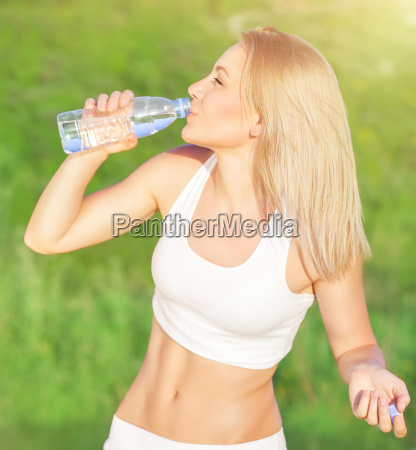 happy woman drink water