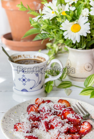 breakfast food strawberries skim activities flowers
