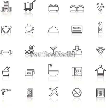 hotel line icons with reflect on