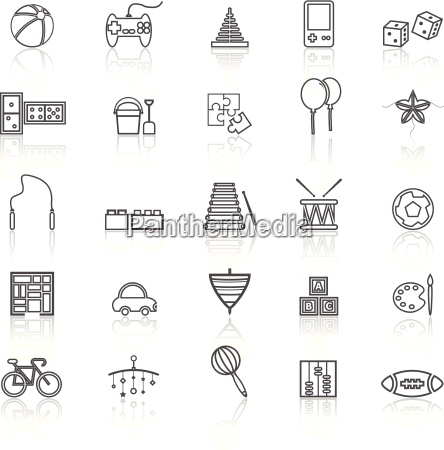toy line icons with reflect on