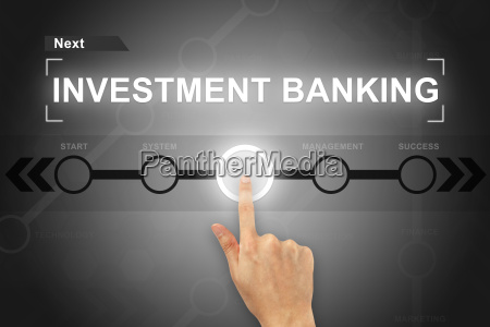 hand clicking investment banking button on
