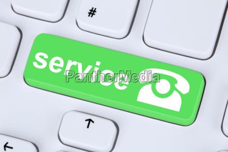 service hotline telefon symbol auf computer