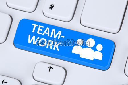 teamwork und business team online im