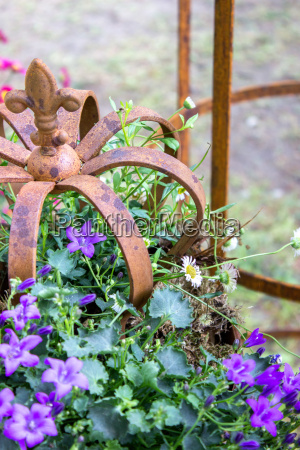 bellflower with garden decoration made of
