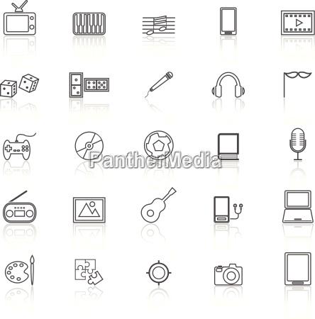 icones de linha de entretenimento com