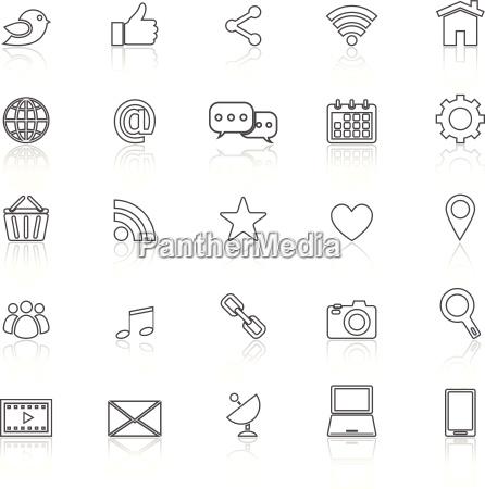 social media icons linie mit reflektieren