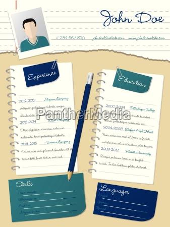 coole neue lebenslauf lebenslauf mit notepapers