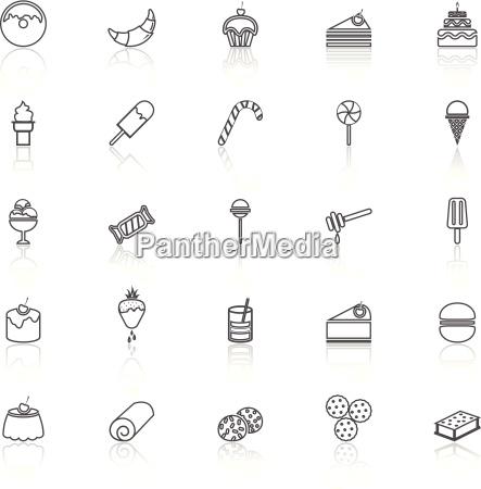 dessert, linie, mit, icons, auf, weiß - 14326603