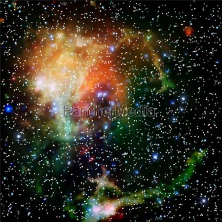 bunte universum mit sternen nebel und