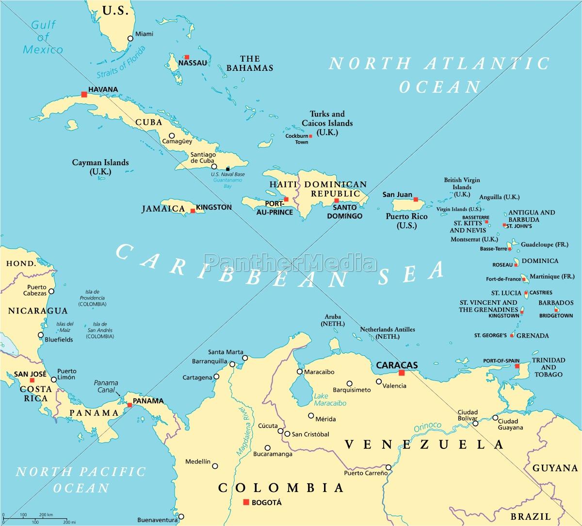 Karibik Karte.Lizenzfreie Vektorgrafik 14334939 Karibik Politische Karte