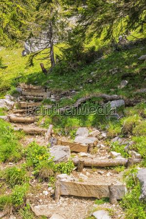 stairs to jaegerkamp bavaria alps