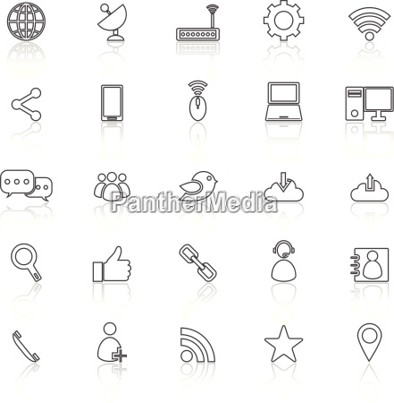 network line icons with reflect on