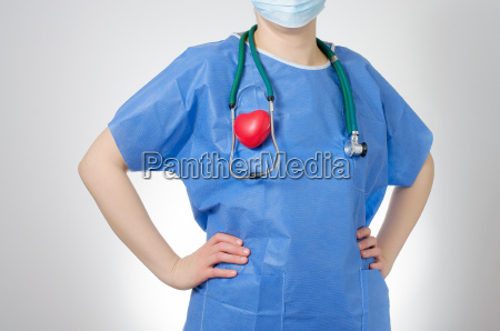 doctor with red heart shape