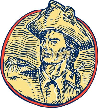 amerikanische patriot seitenkreis radierung
