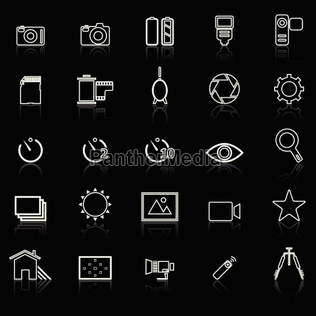 camera line icons with reflect on