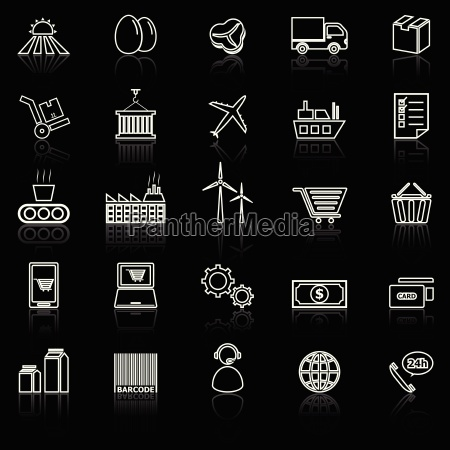 supply chain line icons with reflect