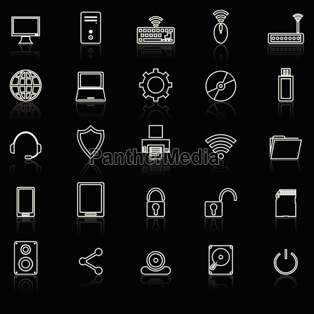 computer line icons with reflect on