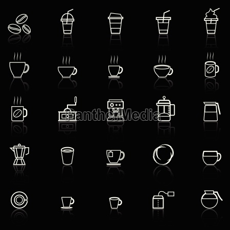 coffee line icons with reflect on