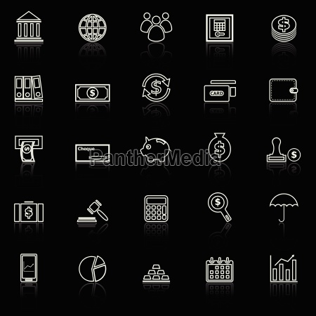 banking line icons with reflect on