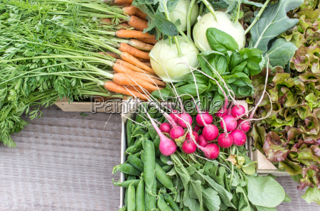 fresh turnip pea pods carrots