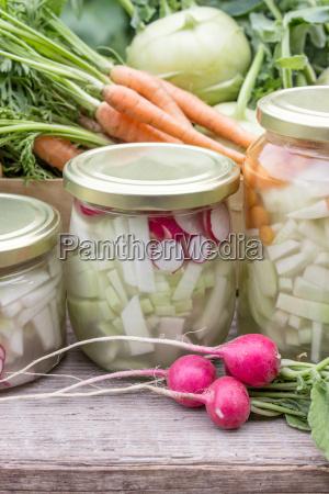 glasses with lactic acid pickled vegetables