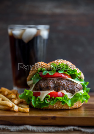 homemade hamburger with fresh vegetables french