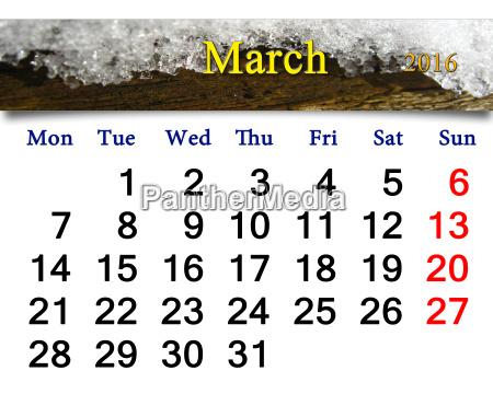 kalender fuer maerz 2016 mit einer