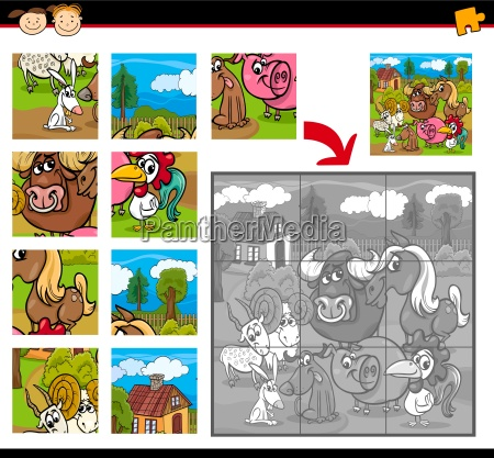farm animals jigsaw puzzle game