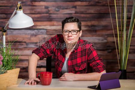 suspicious woman at desk