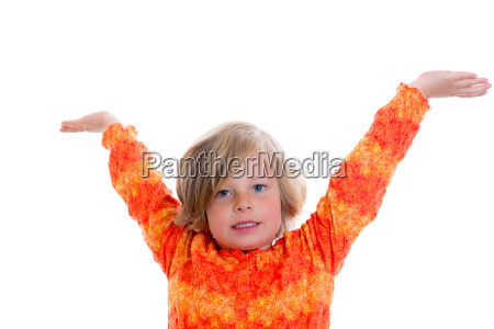 little girl with arms in the