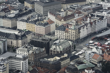 aerial view of bergen city in