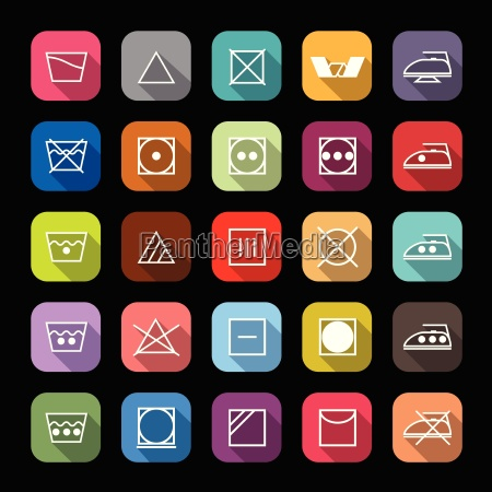 fabric care line icons with long