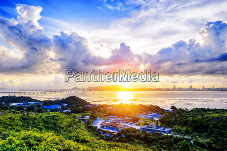 village with beautiful sunset over hong