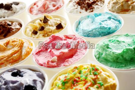 tasty summer ice cream in different