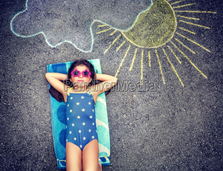 happy little girl in summer vacation