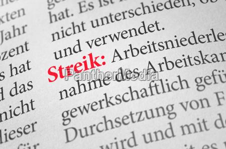 woerterbuch mit dem begriff streik