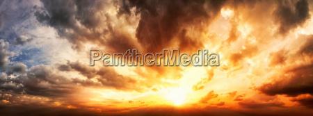 dramatic sunset sky panorama