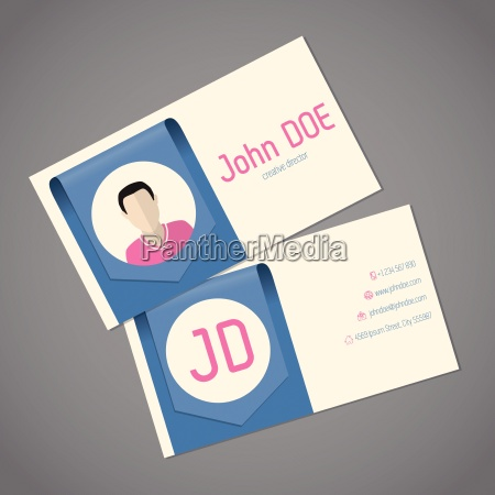 business card template with arrow ribbon