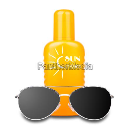 isolated sun cream with sunglasses