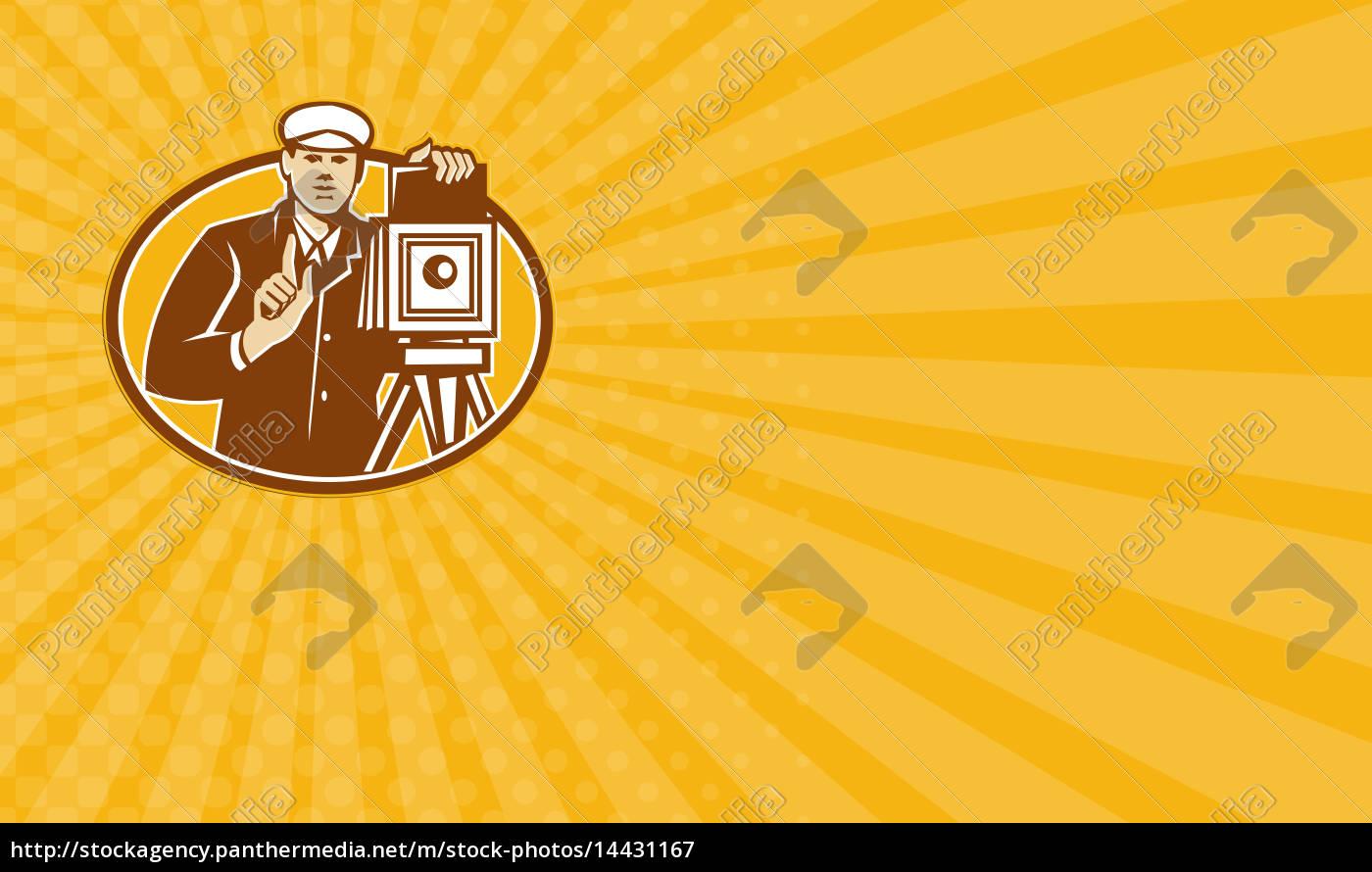 Stockfoto 14431167 Visitenkarten Fotograf Vintage Camera Front Retro