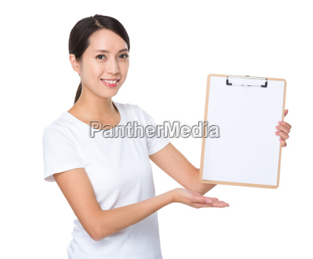 asian woman showing the blank page