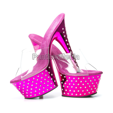 pink high heels shoes with platform